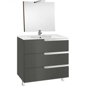 Image for Roca Victoria-N 600 Pack (Base Unit,Basin, Mirror And Two Spotlights) Gloss Anthracite Grey