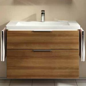 Image for Vitra Ecora 2-Drawers Vanity Unit and Basin, 600mm Wide, Oak