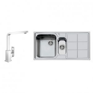 Image OfGROHE 122462 Eurocube Kitchen Tap and Foster S3000 1.5 Bowl Sink LH