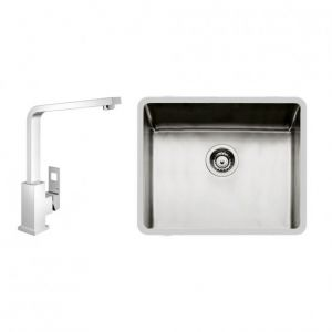Image Of GROHE 122476 Eurocube Kitchen Tap and Foster KE 50 Undermount Sink Bowl