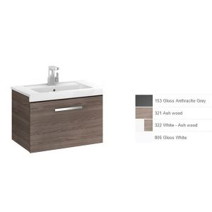 Image for Roca Prisma 1-Drawers Vanity Unit, 600Mm X 460Mm, Gloss White