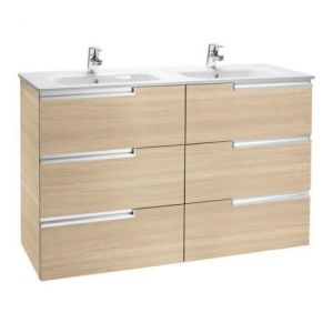 Image for Roca - Victoria-N Unik 6 Drawer Vanity Unit With 1200Mm Double Basin - Textured Oak