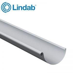 Image for Lindab Steel Half Round Guttering 125mm x 3m Painted Silver Metallic