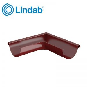 Image for Lindab Half Round 90dg Outer Gutter Angle 150mm Painted Dark Red