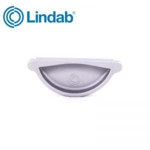 Image for Lindab Half Round Self Sealing Stop End 100mm Painted Silver Metallic