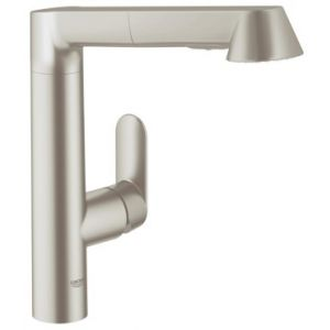 Image for GROHE K7 Kitchen Tap, High Spout, Pull-Down Comfort Spray Head, Supersteel