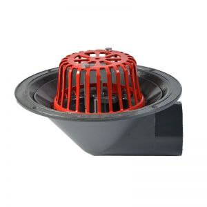 Image for ACO Rainwater Roof Outlet 90dg Screw with Dome Grate - 75mm