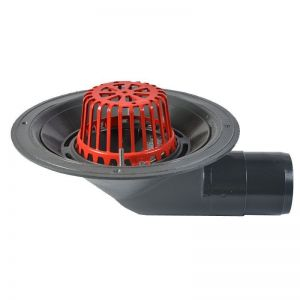 Image for ACO Rainwater Roof Outlet 90dg Spigot with Dome Grate - 100mm