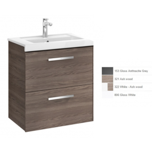 Image for Roca Prisma 2-Drawers Right Handed Vanity Unit With Basin, 590Mm X 460Mm, Gloss White & Textured Ash