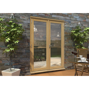 Image for Rohden Oak Unfinished Engineered External French Doorset - 83in x 59in x 44mm (2100mm x 1500mm)