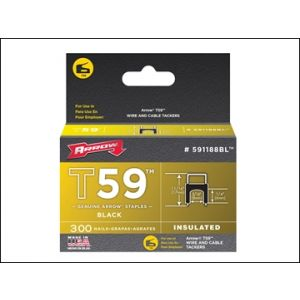 Image for T59 Insulated Staples Black 6 x 8mm Box 300