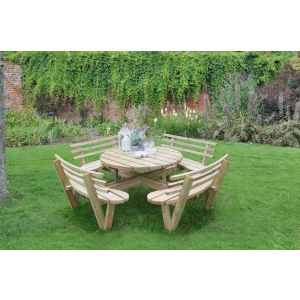 Image for Forest Circular Picnic Table with Seat Backs