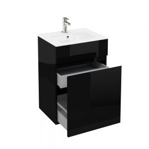 Image for Britton Cabinets 600mm Vanity Unit With Drawers & Ceramic Basin Anthracite Grey D450 Range - D45G.C6045