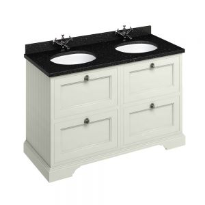 Image for Burlington Twin Freestanding  Black  &  Sand Vanity Unit with Drawers - 130cm