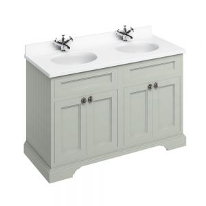 Image for Burlington Twin Freestanding  White  &  Olive  Double Door Vanity Unit -130cm