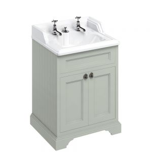 Image for Burlington 65cm  Dark Olive Vanity Unit with Doors and Classic Basin for Invisible Waste