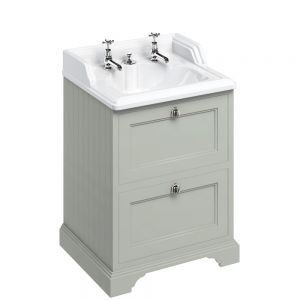 Image for Burlington 65cm  Dark Olive Vanity Unit with Drawers and Classic Basin for Invisible Waste