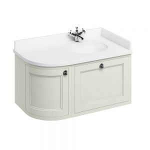 Image for Burlington 1000mm Wall Hung Bathroom Sand & White Vanity Unit - Right Handed