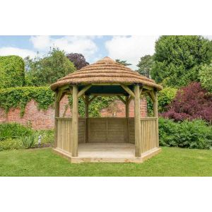 Image for Forest 3.6m Hexagonal Wooden Garden Gazebo with Thatched Roof - Green Lining