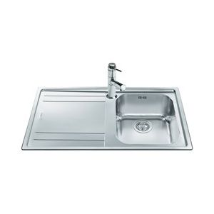 Image for Smeg LE861S-2 Rigae 86cm Single Bowl Inset Stainless Steel Kitchen Sink With Left Hand Drainer