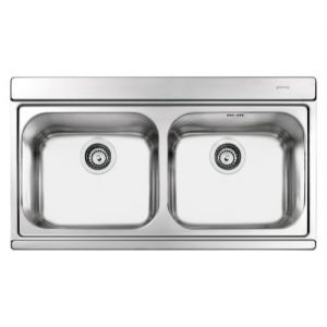 Image for Smeg LI92SG Iris 90cm Stainless Steel Double Bowl Inset Kitchen Sink With Silver Glass Chopping Boards