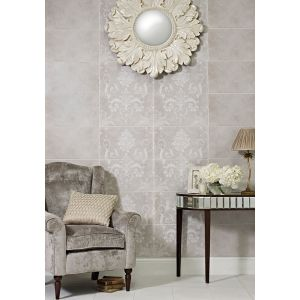 Image for Laura Ashley Josette Dove Grey Decor Part B 298mm x 498mm Wall Tile 6 Per Pack - LA51614