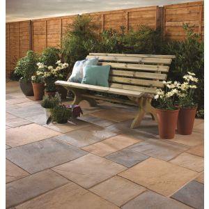 Image for Bradstone Old Riven Autumn Bronze Paving Patio Slabs 300x300x35 (pack of 87)