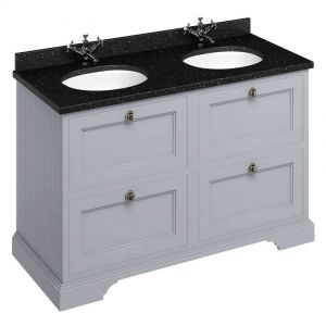Image For Burlington Classic Grey 130 4-Drawer Vanity Unit & Double Basin - Granite Black Worktop