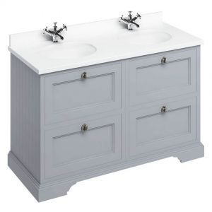 Image For Burlington Classic Grey 130 4-Drawer Vanity Unit & Double Basin - White Worktop
