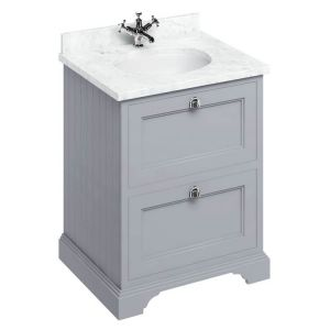Image For Burlington 65 2-Drawer vanity Unit & Basin -  Carrara White Worktop