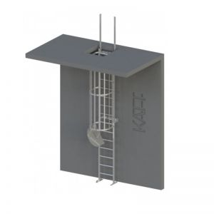 Image for RL44 Caged Access Ladder with Retractable Stilts - 9600mm