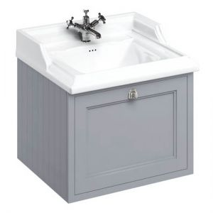 Image For Burlington Wall Hung 65 Single Drawer Vanity Unit & Classic Basin 1TH- Classic Grey