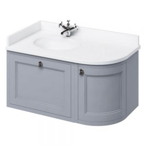 Image For Burlington Wall Hung 100 Curved Corner Classic Grey Vanity Unit & Basin (Left Hand)- White Worktop