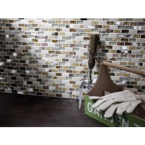Image for Verona Cream Gloss Glass/Stone/Metal/Pearl Mix Mini Brick Wall Mosaic (10 Per Box) - 300x300mm