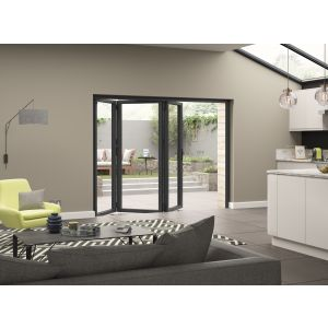 Image for JCI Grey Aluminium Pre Finished External 3 Bifold Doors Right Opening - 2090mm x 2390mm