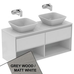 Image of Ideal Standard Concept Air Wall Hung Vanity Unit Only 2 Drawers & Open Shelf 1200mm Wide Light Grey Wood/Matt White