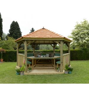 Image for Forest 4.7m Hexagonal Wooden Garden Gazebo with Cedar Roof - Furnished (Green)