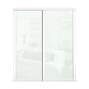 Image for Shaker White Framed Sliding Wardrobe Doors X 2 With Single Panel White And Track - 2260mm High
