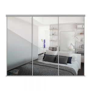 Image for Heritage Silver Framed Sliding Wardrobe Doors x 3 With Single Panel Mirror And Track - 2260mm High