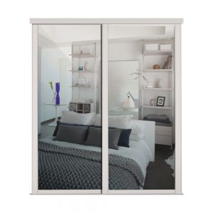 Image for Shaker Cashmere Framed Sliding Wardrobe Doors X 2 With Single Panel Mirror And Track - 2260mm High