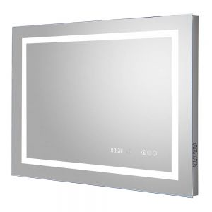 Image For Hudson Reed Prisma Bluetooth LED Touch Sensor Mirror With Clock & Demister Pad- 800mm