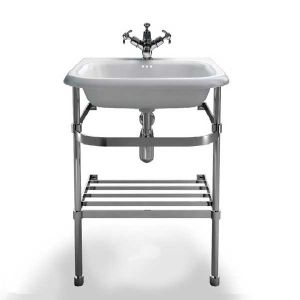 Image for Clearwater Traditional Basin with Washstand 550mm W x 880mm H - 0 Tap Hole