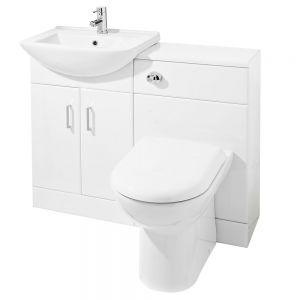 Image for Premier Saturn Combination Furniture Pack with 550mm Vanity Unit and 500mm WC Unit 1 Tap Hole White