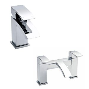 Image for Ultra Vibe Mono Basin Mixer Tap and Bath Filler Tap Pillar Mounted - Chrome