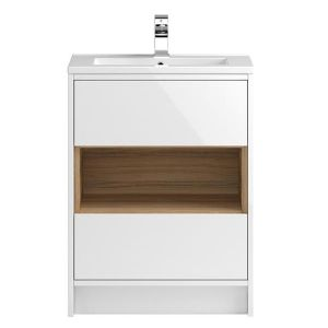 Image for Hudson Reed Coast 2 Floor Standing Vanity Unit and Basin 610mm Wide White 1 Tap Hole