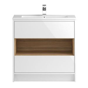 Image for Hudson Reed Coast 2 Floor Standing Vanity Unit and Basin 810mm Wide White 1 Tap Hole