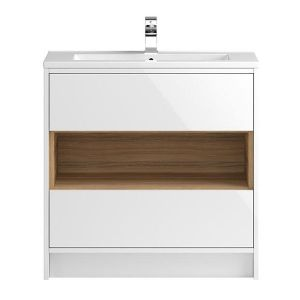 Image for Hudson Reed Coast 1 Floor Standing Vanity Unit and Basin 810mm Wide White 1 Tap Hole