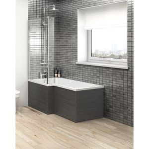 Image for Hudson Reed MDF Shower Bath Front Panel, 1700mm Wide, Hacienda Black