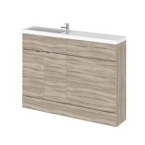 Image for Hudson Reed Compact Combination Unit with 600mm WC Unit - 1202mm Wide - Driftwood 1 Tap Hole