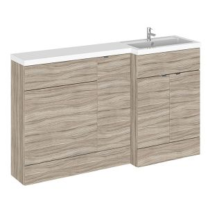 Image for Hudson Reed Right Handed Combination Unit with 600mm WC Unit - 1502mm Wide - Driftwood 1 Tap Hole